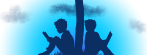 banner image of children sitting reading under a tree, that looks like the cross with the cloud arrangement